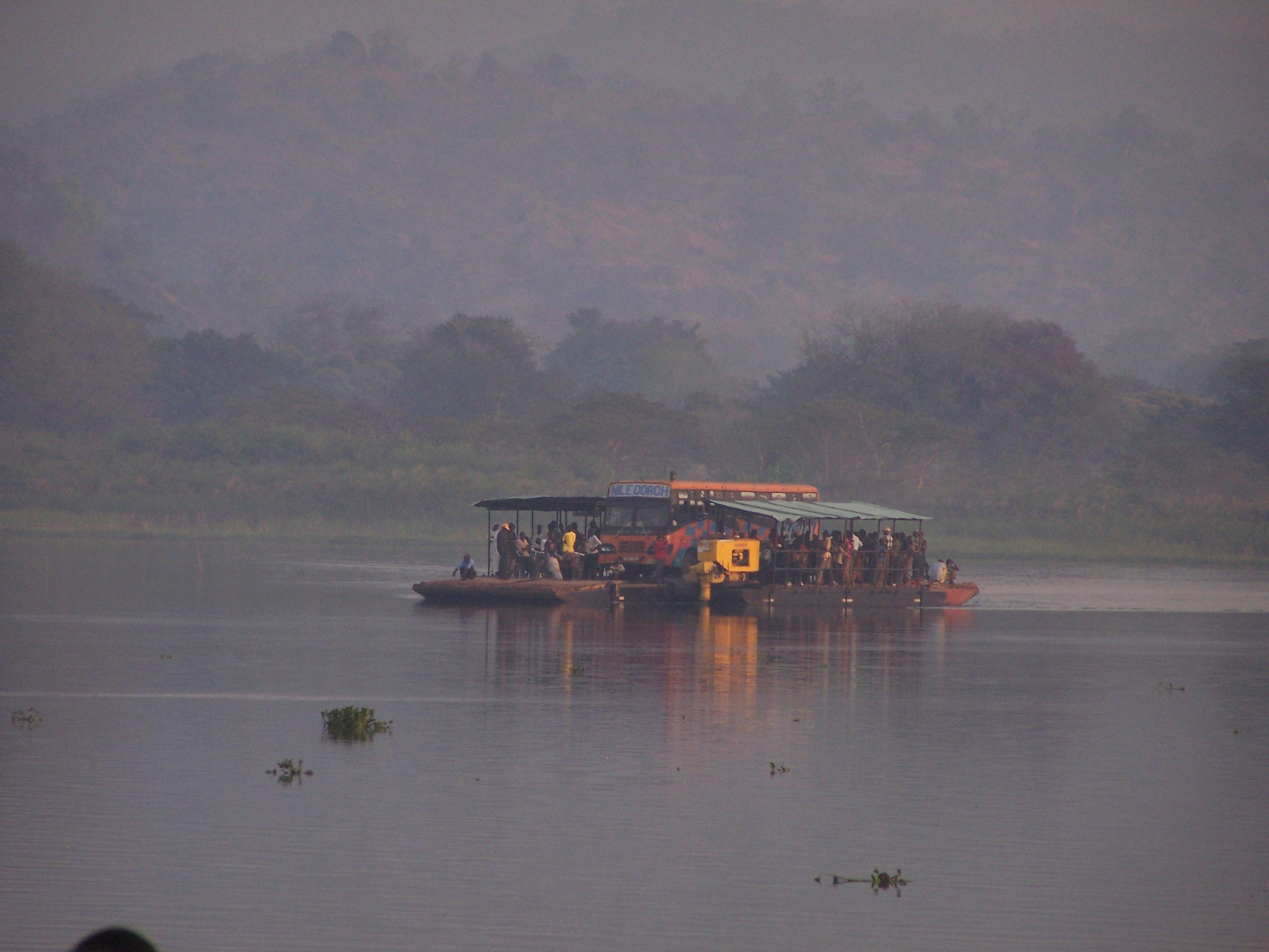 Ferry crossing the Nile, traveled by Evan Haglund in search of Alere 2 Refugee Camp