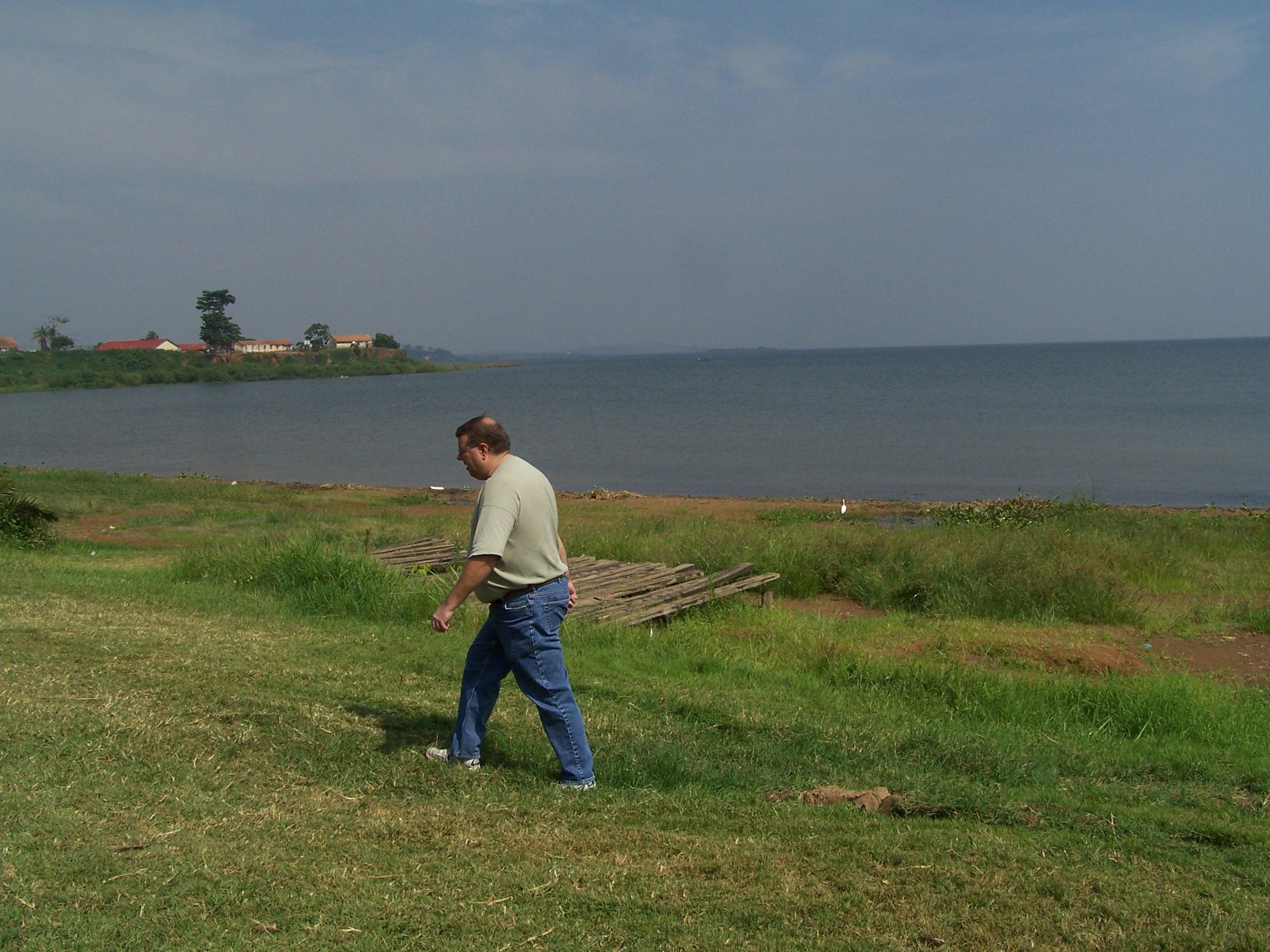 Evan Haglund on the shore of Lake Victoria, outside of Kampala
